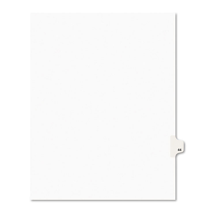 Avery-Style Legal Exhibit Side Tab Divider, Title: 44, Letter, White, 25/pack