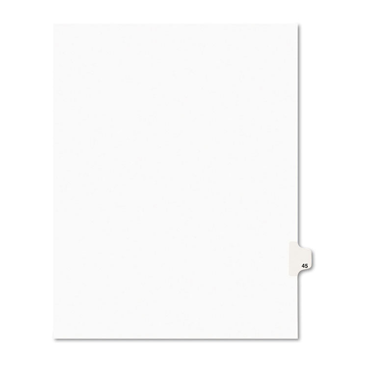 Avery-Style Legal Exhibit Side Tab Divider, Title: 45, Letter, White, 25/pack
