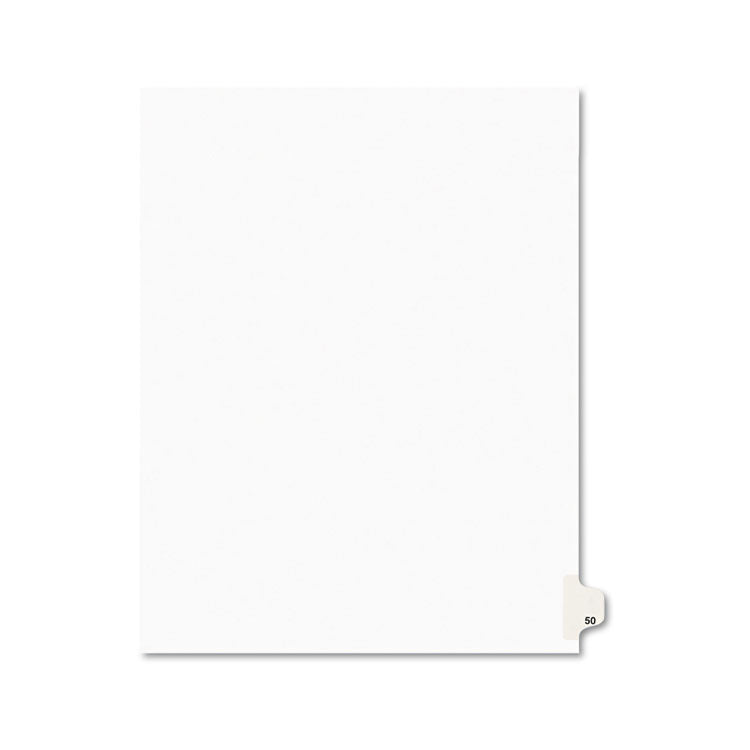 Avery-Style Legal Exhibit Side Tab Divider, Title: 50, Letter, White, 25/pack
