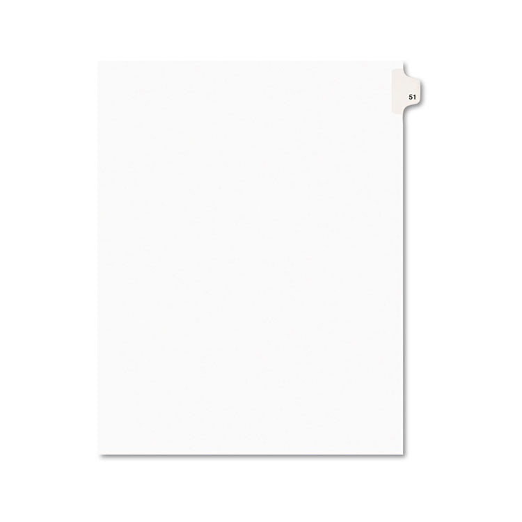 Avery-Style Legal Exhibit Side Tab Divider, Title: 51, Letter, White, 25/pack
