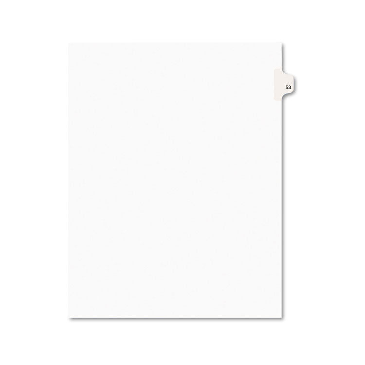 Avery-Style Legal Exhibit Side Tab Divider, Title: 53, Letter, White, 25/pack