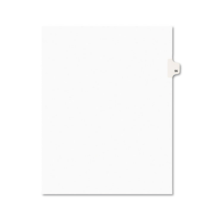 Avery-Style Legal Exhibit Side Tab Divider, Title: 56, Letter, White, 25/pack
