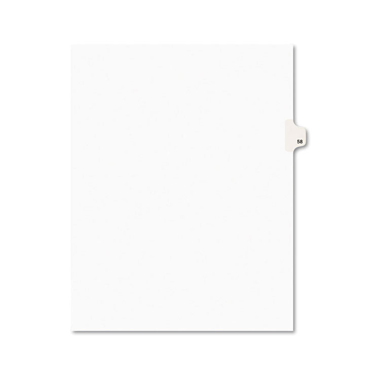 Avery-Style Legal Exhibit Side Tab Divider, Title: 58, Letter, White, 25/pack