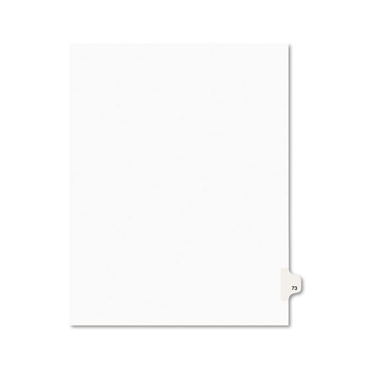 Avery-Style Legal Exhibit Side Tab Divider, Title: 73, Letter, White, 25/pack