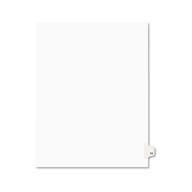Avery-Style Legal Exhibit Side Tab Divider, Title: 74, Letter, White, 25/pack