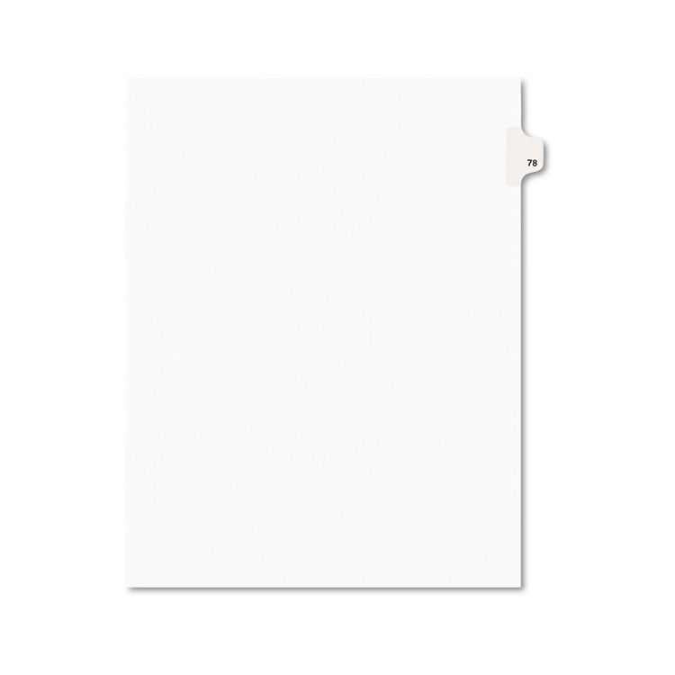 Avery-Style Legal Exhibit Side Tab Divider, Title: 78, Letter, White, 25/pack