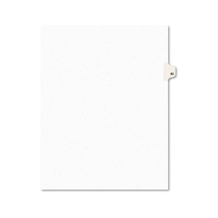 Avery-Style Legal Exhibit Side Tab Divider, Title: 82, Letter, White, 25/pack