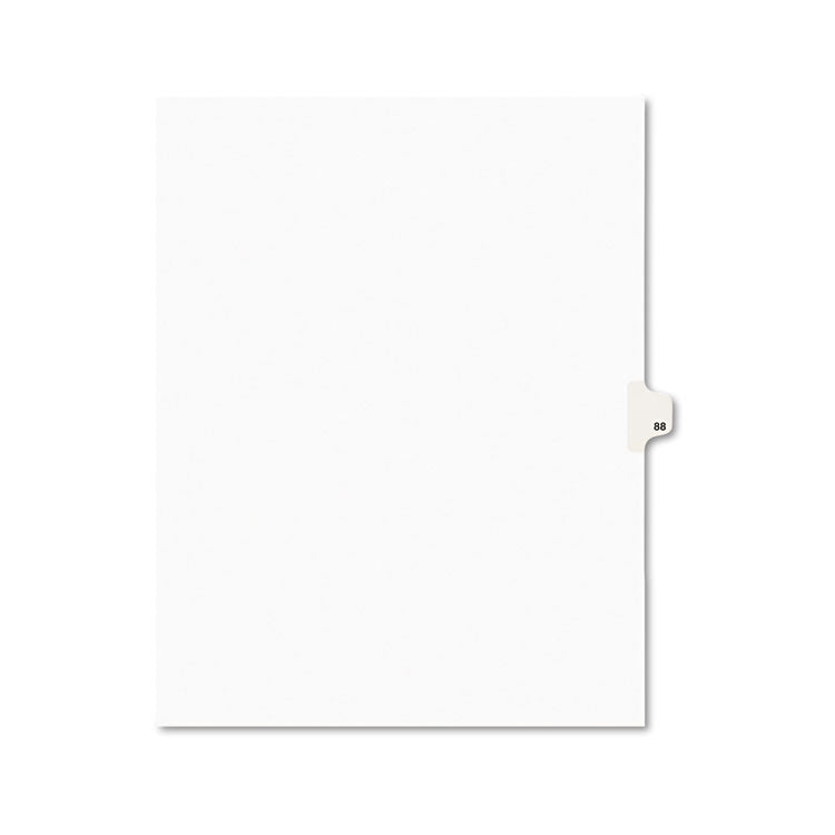 Avery-Style Legal Exhibit Side Tab Divider, Title: 88, Letter, White, 25/pack