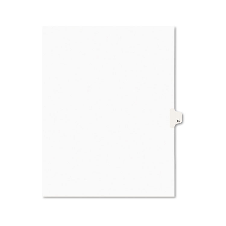 Avery-Style Legal Exhibit Side Tab Divider, Title: 89, Letter, White, 25/pack