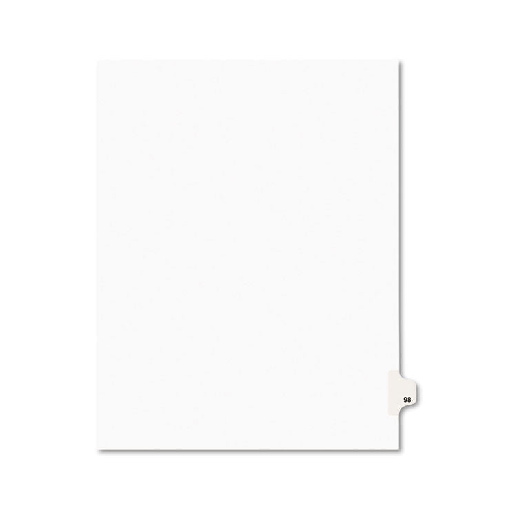 Avery-Style Legal Exhibit Side Tab Divider, Title: 98, Letter, White, 25/pack
