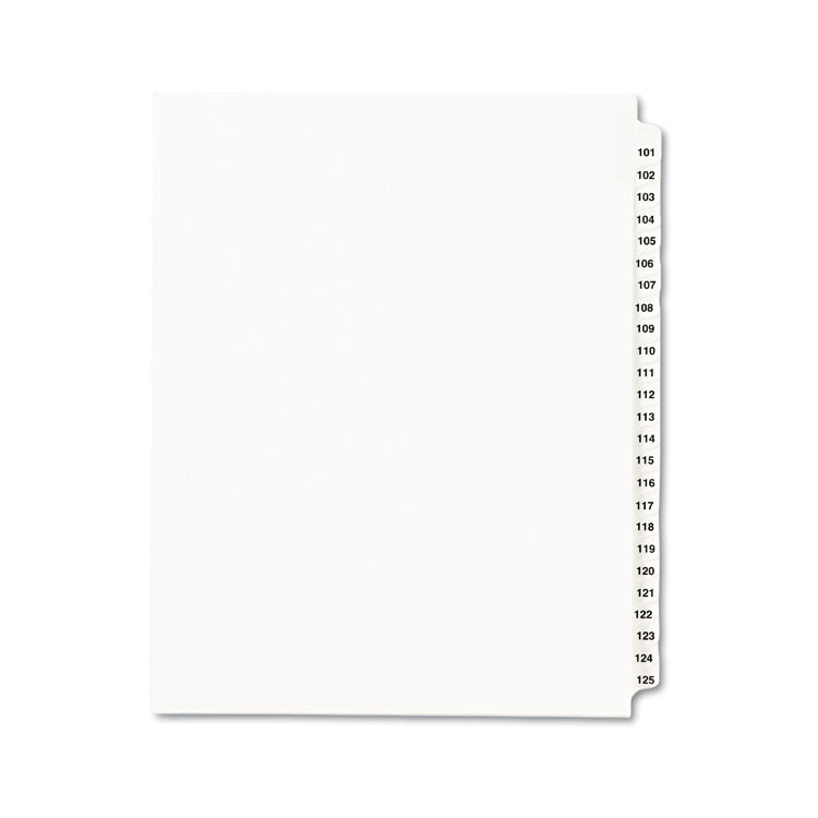Avery-Style Legal Exhibit Side Tab Divider, Title: 101-125, Letter, White