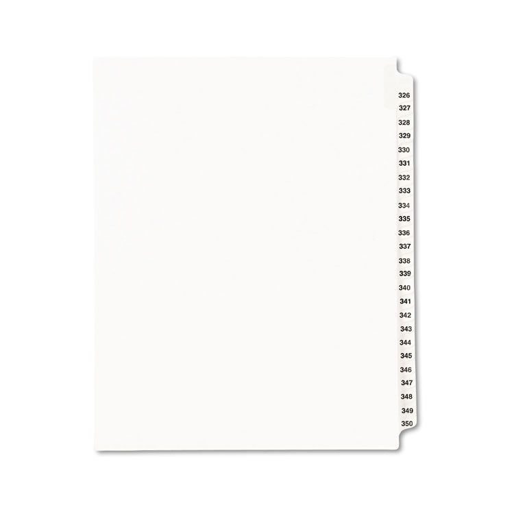 Avery-Style Legal Exhibit Side Tab Divider, Title: 326-350, Letter, White