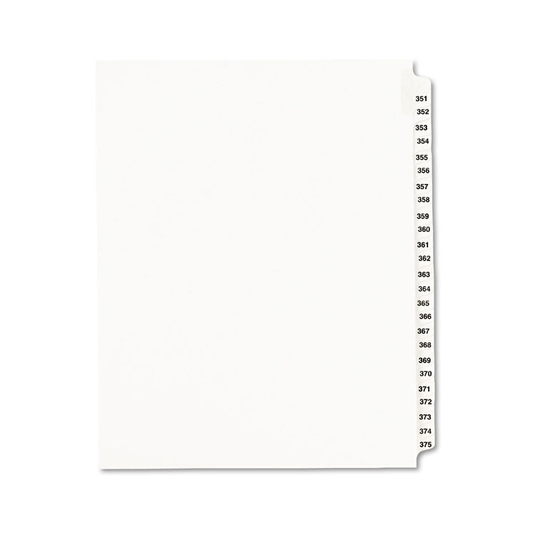 Avery-Style Legal Exhibit Side Tab Divider, Title: 351-375, Letter, White