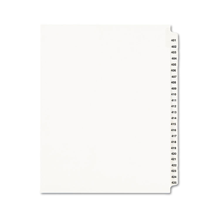 Avery-Style Legal Exhibit Side Tab Divider, Title: 401-425, Letter, White