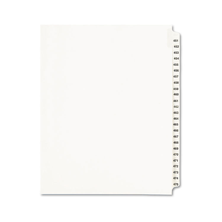Avery-Style Legal Exhibit Side Tab Divider, Title: 451-475, Letter, White