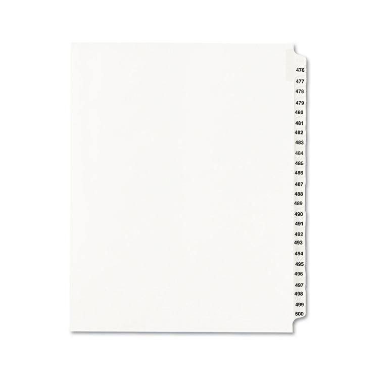 Avery-Style Legal Exhibit Side Tab Divider, Title: 476-500, Letter, White