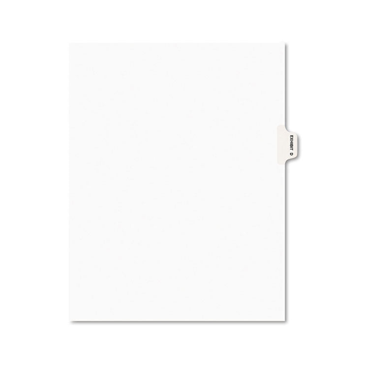 Avery-Style Preprinted Legal Side Tab Divider, Exhibit D, Letter, White, 25/pack