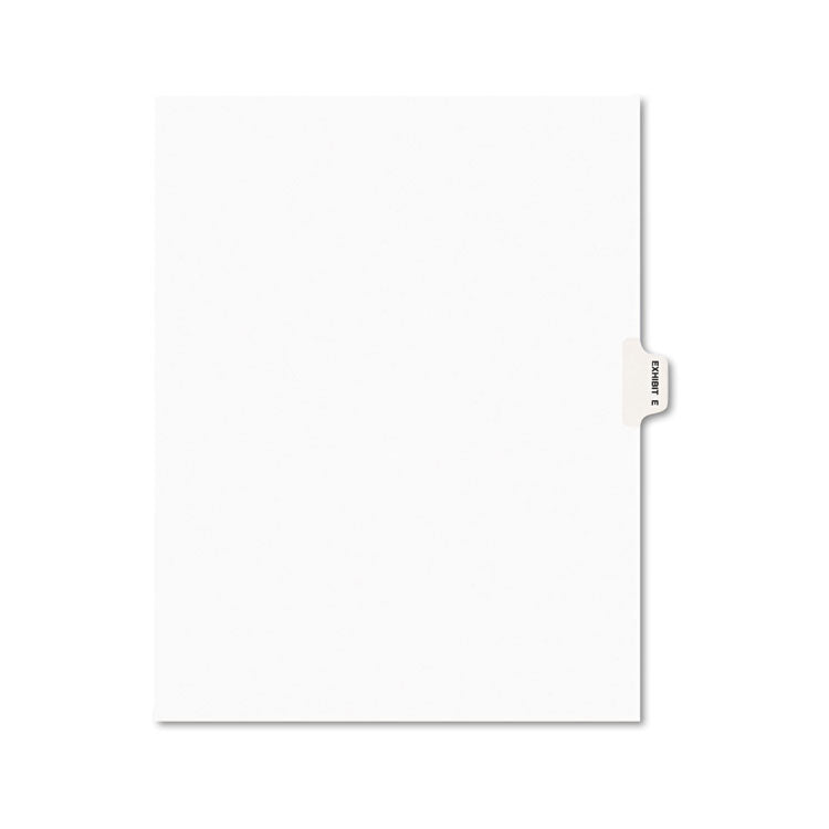 Avery-Style Preprinted Legal Side Tab Divider, Exhibit E, Letter, White, 25/pack