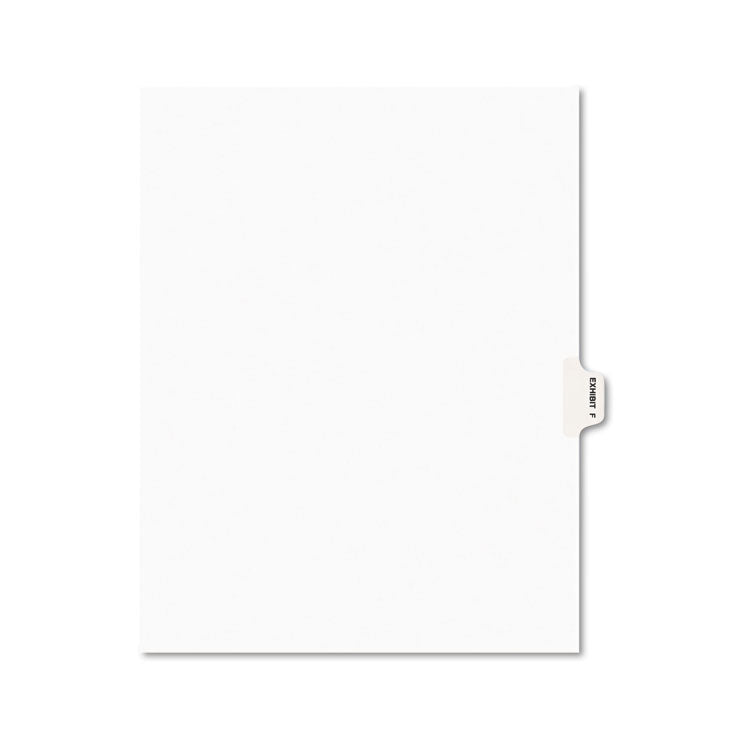 Avery-Style Preprinted Legal Side Tab Divider, Exhibit F, Letter, White, 25/pack