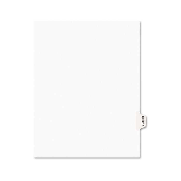 Avery-Style Preprinted Legal Side Tab Divider, Exhibit R, Letter, White, 25/pack