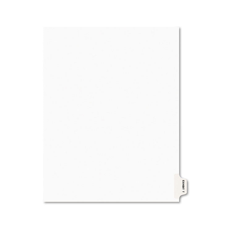Avery-Style Preprinted Legal Side Tab Divider, Exhibit T, Letter, White, 25/pack