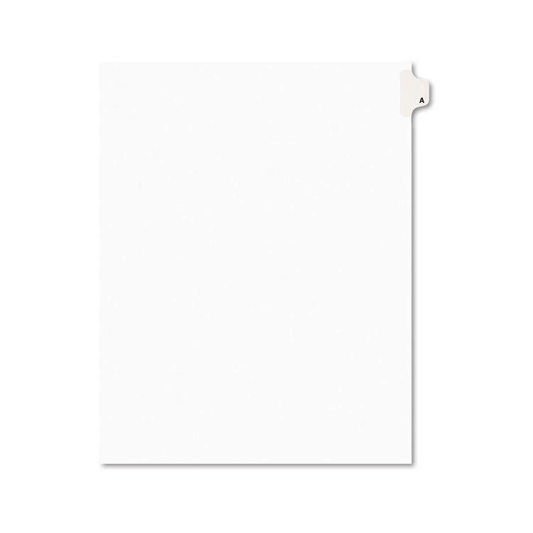 Avery-Style Legal Exhibit Side Tab Dividers, 1-Tab, Title A, Ltr, White, 25/pk