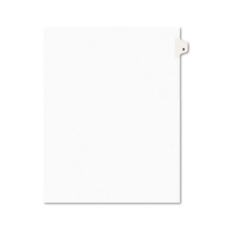 Avery-Style Legal Exhibit Side Tab Dividers, 1-Tab, Title B, Ltr, White, 25/pk