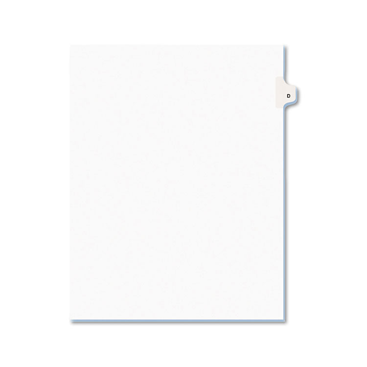 Avery-Style Legal Exhibit Side Tab Dividers, 1-Tab, Title D, Ltr, White, 25/pk