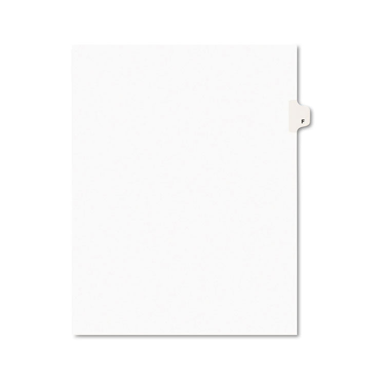 Avery-Style Legal Exhibit Side Tab Dividers, 1-Tab, Title F, Ltr, White, 25/pk