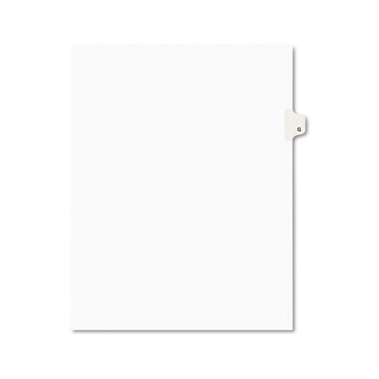 Avery-Style Legal Exhibit Side Tab Dividers, 1-Tab, Title G, Ltr, White, 25/pk
