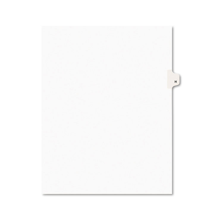 Avery-Style Legal Exhibit Side Tab Dividers, 1-Tab, Title H, Ltr, White, 25/pk