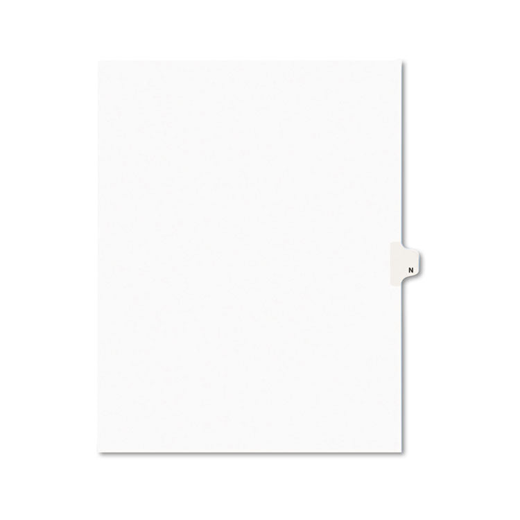 Avery-Style Legal Exhibit Side Tab Dividers, 1-Tab, Title N, Ltr, White, 25/pk