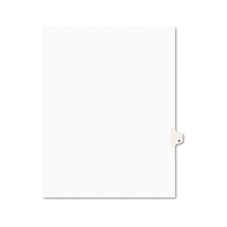 Avery-Style Legal Exhibit Side Tab Dividers, 1-Tab, Title R, Ltr, White, 25/pk