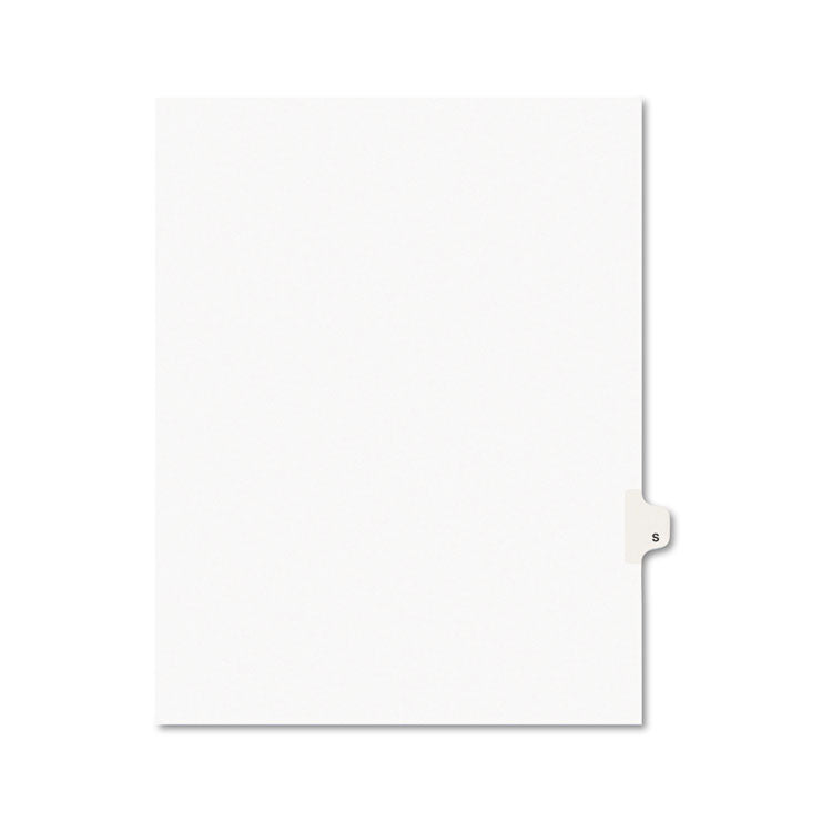 Avery-Style Legal Exhibit Side Tab Dividers, 1-Tab, Title S, Ltr, White, 25/pk