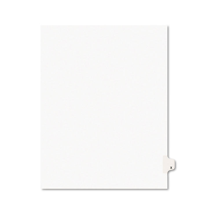 Avery-Style Legal Exhibit Side Tab Dividers, 1-Tab, Title X, Ltr, White, 25/pk