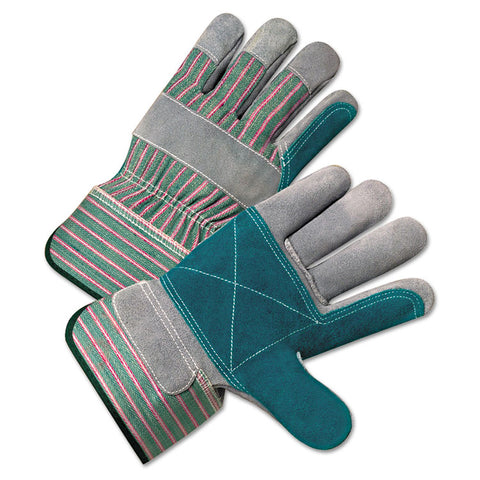 2000 Series Leather Palm Gloves, Gray/green/red, Large, 12 Pairs