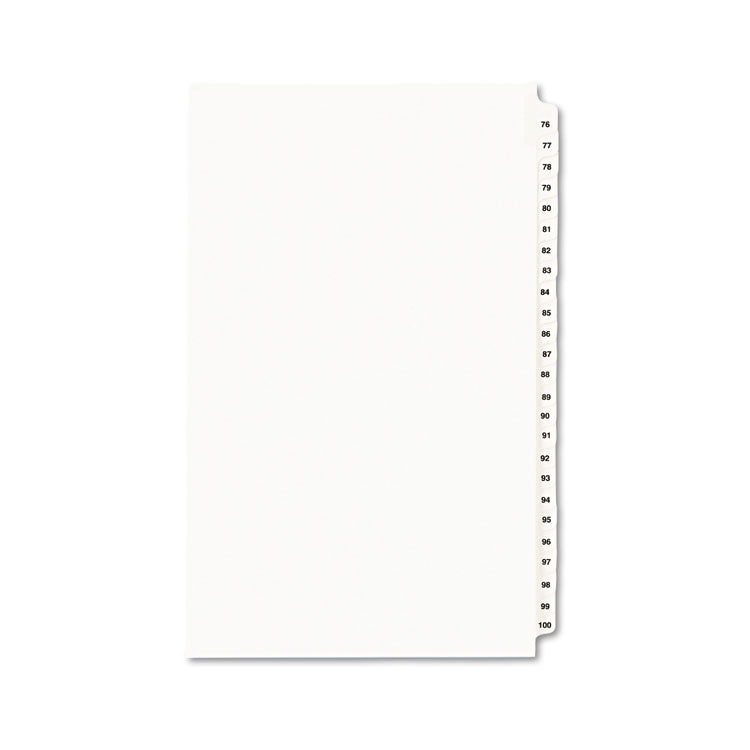 Avery-Style Legal Exhibit Side Tab Divider, Title: 76-100, 14 X 8 1/2, White