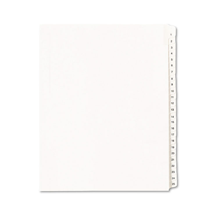 Allstate-Style Legal Exhibit Side Tab Dividers, 25-Tab, 1-25, Letter, White