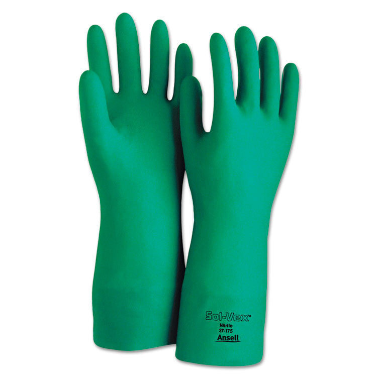 Sol-Vex Sandpatch-Grip Nitrile Gloves, Green, Size 9, 12 Pairs