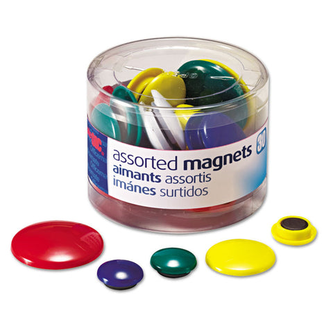 Assorted Magnets, Circles, Assorted Sizes & Colors, 30/tub