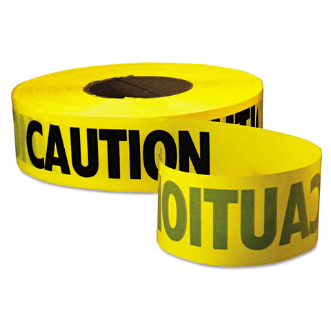 "Caution Barricade Tape, 3"" X 1000ft, Yellow/black, 8/ct"