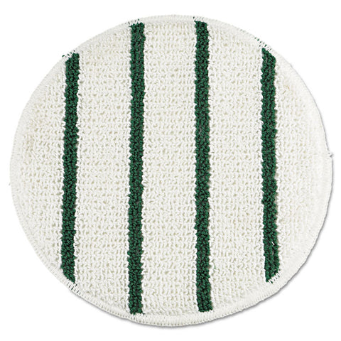 "Low Profile Scrub-Strip Carpet Bonnet, 19"" Dia, White/green"