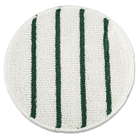 "Low Profile Scrub-Strip Carpet Bonnet, 21"" Dia, White/green"