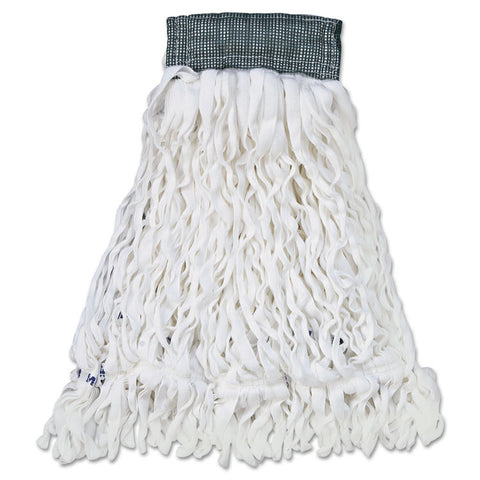 Clean Room Mop Head, Rayon, Loop-End, Medium, White, 12/carton