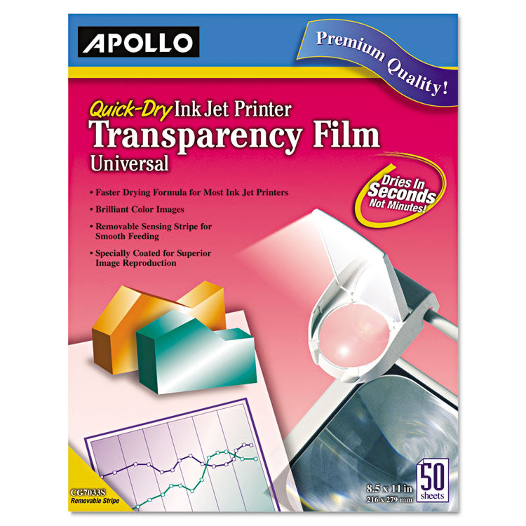 Quick Dry Universal Inkjet Printer Transparency Film, 50 Sheets/box