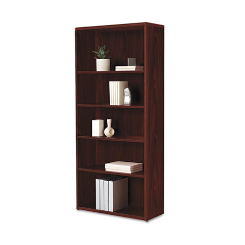 10700 Series Wood Bookcase, 5 Shelf/3 Adjust,32 3/8 X 13 1/8 X 71, Mahogany