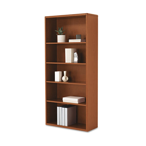 10700 Series Wood Bookcase, 5 Shelf/3 Adjust,32 3/8 X 13 1/8 X 71, Henna Cherry