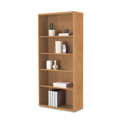 10700 Series Wood Bookcase, 5 Shelf/3 Adjust, 32 3/8 X 13 1/8 X 71, Harvest