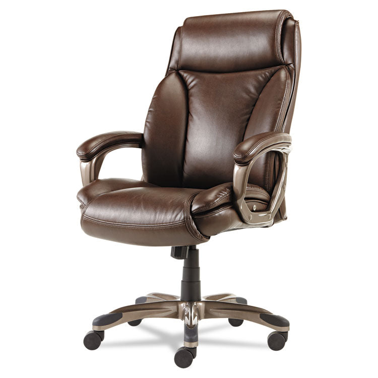 Alera Veon Series Executive Highback Leather Chair, Coil Spring Cushioning,brown