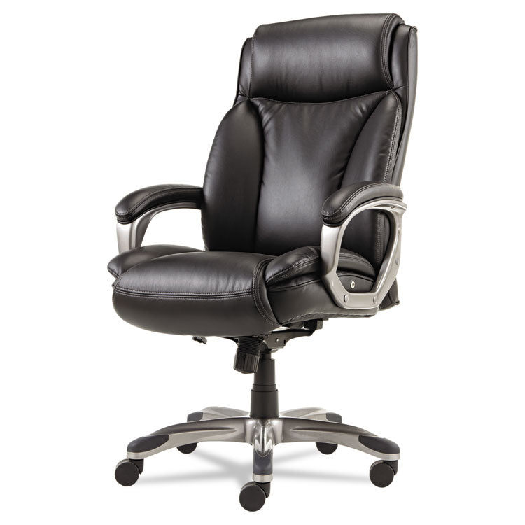 Alera Veon Series Executive Highback Leather Chair, Coil Spring Cushioning,black